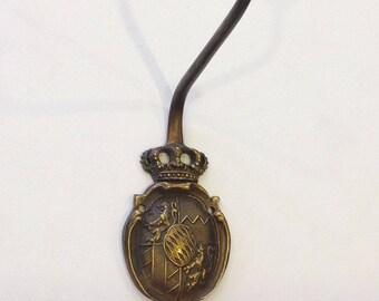 Vintage bronze tone metal coat hook royal ornaments coat of arms Germany