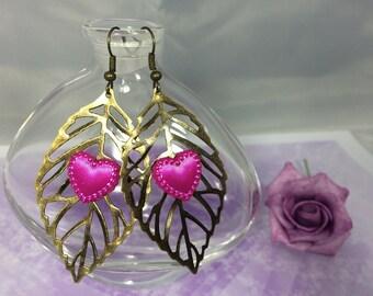 Boucles d oreille feuilles bronze cœur fuschia