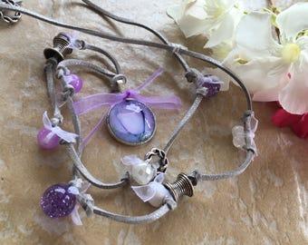 Necklace beads purple suede grey
