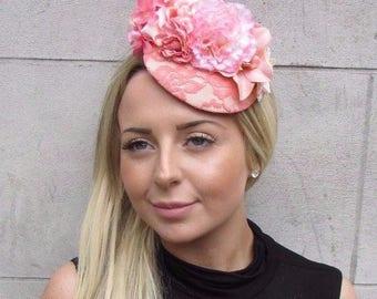 Coral Peach Pink Cream Floral Flower Fascinator Hat Pillbox Races Wedding 3136