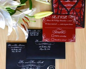 Gothic spider web halloween wedding invitation laser cut gatefold with RSVP card