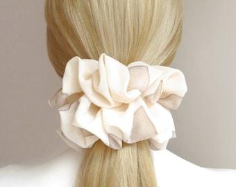 Cream Scrunchie, #78, Hair Scrunchies, Headband, Big Large Scrunchies, HairTies, Dance Hair Scrunchie, Gypsy, Stylish Hair Elastic Scrunchy