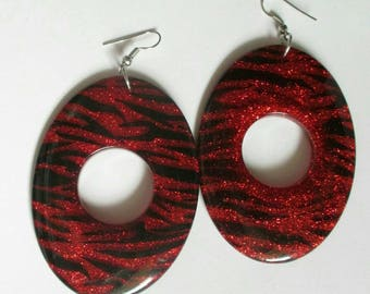 Vintage red Earring glitter tiger massive large big dangle Valentine's Day pierced animal print mod retro earrings chunky earrings oval