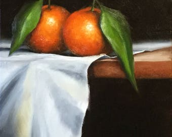 Clementines on cloth ,Original Oil Painting ready to hang still life by Jane Palmer