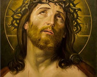 """Jesus crown of thorns  , hand-painted of hot colors directly on solid wood 18x24x2 см ( 7.0""""x 9.6""""x0.8"""" )"""