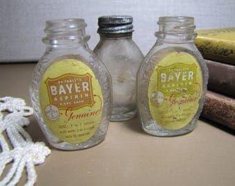 Three (3) Small Glass Bayer Aspirin Bottles