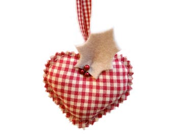Heart Christmas decoration tree gingham