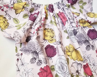Girls Floral Pink Flutter Sleeve Peasant Dress; Girls Peasant Dress