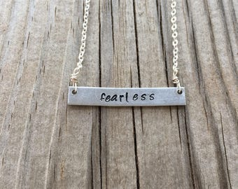 Fearless Bar Necklace//Bar Necklace//Silver Chain//Silver Jewelry//Hand Stamped//Stamped Jewelry//Gifts for Her//Gifts Under 20