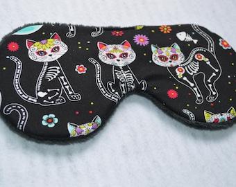 Sugar Skull Cat Sleep mask/ Cat eye mask/ Cat Sleep Mask/