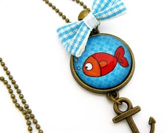 Small red fish and sea turquoise Locket pendant