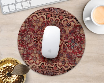 Persian Rug Mouse Pad Red Rug Mouse Mat Geometric MousePad Desk Accessories Mouse Pad Floral Mouse Mat Persian Carpet Mouse Pad Office Gift