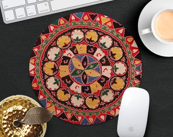 Persian Rug Mouse Pad Yellow Red Rug Mouse Mat Geometric MousePad Desk Accessories Round Mouse Pad Style Mouse Mat Persian Carpet Mouse Pad