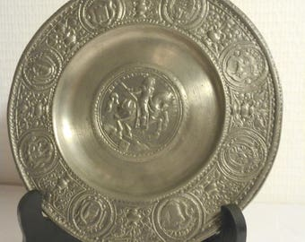 stunning French vintage decorative pewter plate with embossed design
