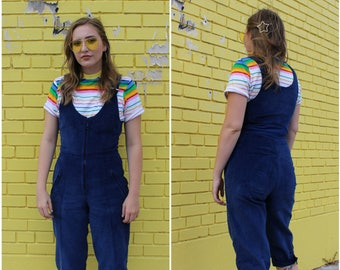 1990s Cropped Navy Corduroy Overall Set