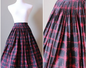 1950s Black and Red Pleated Full Circle Skirt