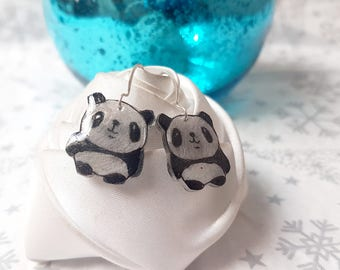 Earrings black and white panda