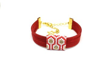 Bee Apis red, white and gold suede and bead weaving bracelet with miyuki beads