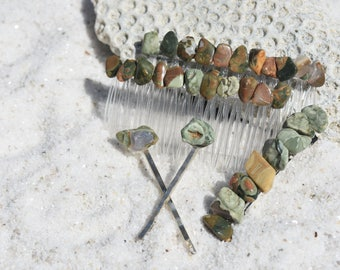 Rainforest Rhyolite Stone Hair Clip Set - Includes 2 Hair Combs, 1 60 mm French Barrette, 2 Hair Pins