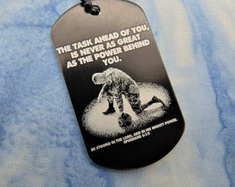 Soldier Deployment Military Deployment Picture On Dog Tag with Personal Message on Back -Your Handwriting Or Text Option Remembrance Gift
