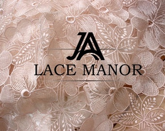 """Pink Floral Organza Lace Fabric Embroidered 47"""" Bridal gown wedding Dress 1 Yard S0421"""