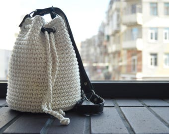 White crochet bag Basket bag Bucket bag Summer cotton bag Women summer accessory Shoulder bag  Leather handle Purse women