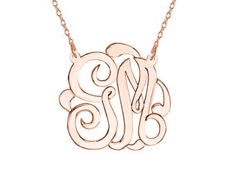 1.25 inch Personalized Rose Gold monogram necklace select any initial made with 925 silver rose plated