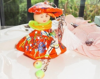 """Jewelry bag """"lilou"""" Tangerine doll polymer clay, Pearl Bohemian facet white pompon, spirit tags"""