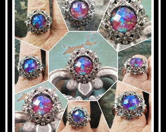 Daisy Faceted Sterling Silver Memorial Ash Ring/ Memorial Ash Jewelry/Pet Memorial Jewelry Cremation Jewelry/Adjustable Size/10mm/64 Colors