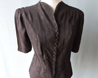 True vintage 1940s blouse crepe black | Size S-M | Early 1940s blouse rayon crepe with roses black