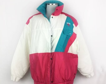 Vintage Roffe Skiwear Ski Jacket 80s Coat Winter Snow Womens 12 White Pink Teal Blue Snowboard Outdoor