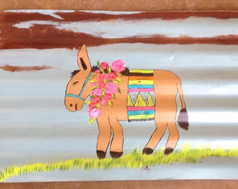Burro / donkey painting on recycled tin.