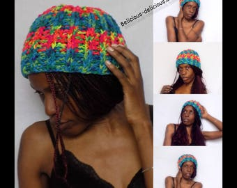 Originale bonnet Crochet unisex !! RAINBOW !! En laine Taille unique belicious-delicious-creation