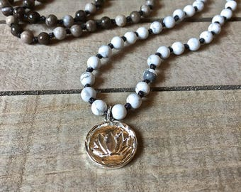 Knotted gemstone necklace, yoga jewelry, hand made & hand knotted, lotus pendant, bohemian knotted jewelry, howlite and silver leaf jasper