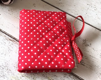 Red Polka Dot Needlebook, Felt Needle Case, Sewing Room Accessories, Quilted Needle Book, Craft Room Storage, Seamstress Gift