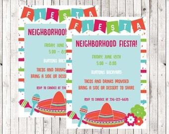 Block Party Fiesta / Summer BBQ invite / Invitation / Printable / Neighborhood party / Digital Download  / Birthday / Graduation