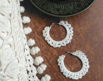 Cream crochet hoop earrings