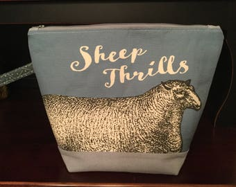 Large, Sheep Knitting project bag, Cotton Linen Canvas, Sheep, blue