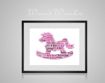 """Personalised New Baby Word Art Rocking Horse Design  **Buy 3 prints get the 4th FREE**  Use coupon code """" MYFREEONE """""""
