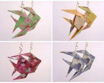 Fish Origami green - orange - pink - blue earrings