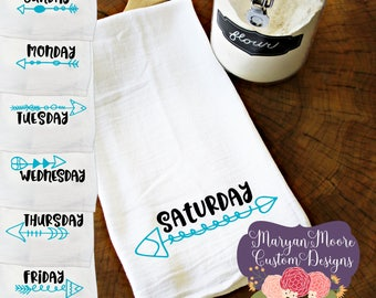Days of the Week, Monday Tuesday Wednesday Thursday Friday Saturday with Arrows Kitchen Flour Sack Towel Tea Towel