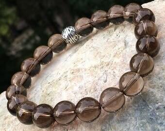 Smokey quartz bracelet; beaded bracelet; men's bracelet; women's bracelet; quartz bracelet, stone bracelet, beaded bracelet