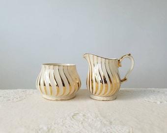 Sadler Gold Swirl on Ivory, Cream & Sugar Set