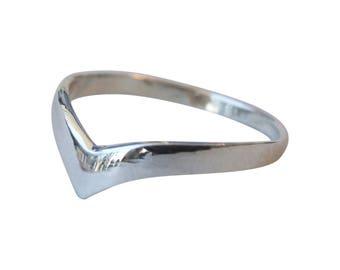 Sterling Silver Ring, Silver Chevron Ring, Silver V Ring, Silver Band Ring, SilverGeometric Ring