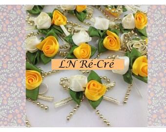 satin ribbon flowers and Golden beads (yellow orange white)
