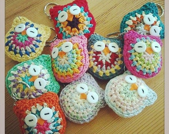 Original Hand Crocheted Owl Keychains, Home Decor, Made to Order.Choose from 35 Colours.