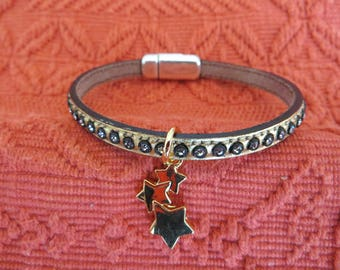 LEATHER BRACELET with Rhinestone, charm and silver magnetic clasp
