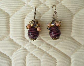 """DANGLE earrings. with """"pear"""" glass bead topped with a cluster of beads"""