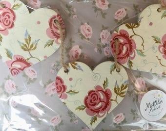 Emma Bridgewater 'Rose and Bee' Handmade Wooden Heart Garland/Bunting