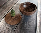 239 - Small Black Walnut Lidded Wood Bowl, 4 inch Turned Black Walnut Box, Hand Turned Wood Bowl with Lid, Hand Carved Basswood Pine Tree